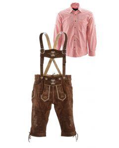 Lederhosen set E (goudbruine broek + rood overhemd)