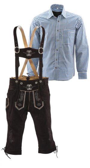 Lederhosen set C (bruine broek + blauw overhemd)