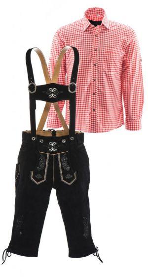 Lederhosen set D (zwarte broek + rood overhemd)