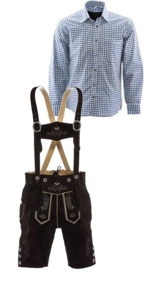 Lederhosen set H (Peter broek + blauw overhemd)