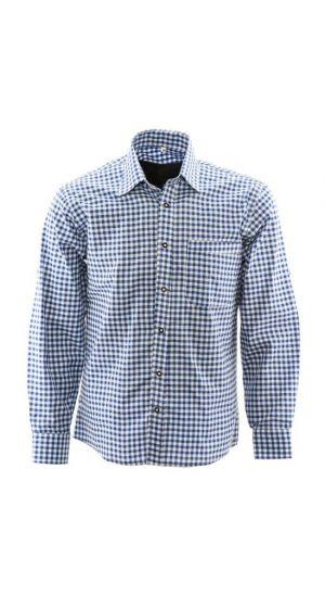 Alpenoverhemd Blauw Wit