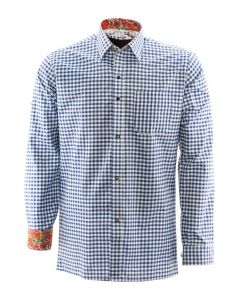 Overhemd lederhosen Blauw Premium