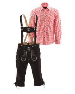 Lederhosen set A (bruine broek + rood overhemd)
