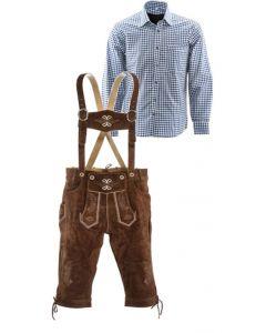 Lederhosen set F (goudbruine broek + blauw overhemd)