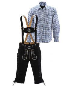 Lederhosen set B (zwarte broek + blauw overhemd)