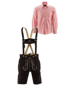 Korte lederhosen bruin en rood overhemd set