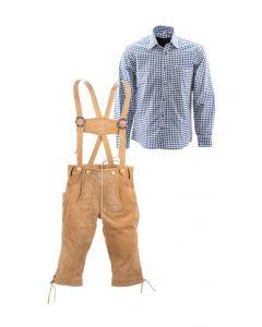 Lederhosen set I (lichtbruine broek + blauw overhemd)