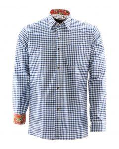 Alpenoverhemd Premium blauw wit