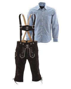 Bruin en blauw combinatie lederhosen set
